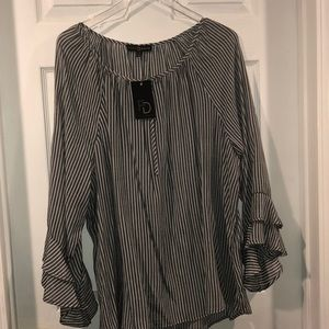Fred David grey and white stripped top NWT